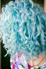 Beautiful pastel blue curly hair