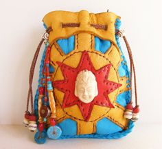 HAPPY BUDDHA deerskin leather Medicine Bag Spirit Pouch with bone Buddha, bone mala beads, Turquoise, Coral, Nepalese beads