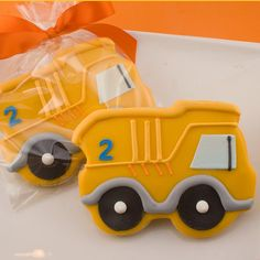 Dump Truck Cookies 12 numbered favors bagged & bowed by TSCookies, $36.00