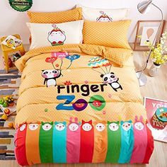 Mumgo 100% Cotton Finger Zoo Kids Bedding Set,Perfect Gifts for Boys,Fashion Chartoon Designs Print Duvet Cover,Flat Sheet,4 Pcs,Full/Queen Size //Price: $87.69 & FREE Shipping //     #bedding sets