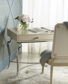 The Savoy Place Desk and Chair  are super soft and pretty pieces from #Bernhardt