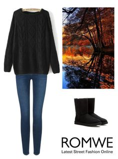 """""""Cable Knit Loose Black Sweater"""" by dezaval ❤ liked on Polyvore featuring Mode, Frame Denim und UGG Australia"""
