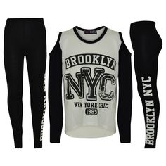 Girls New York 98 Dotted Top /& Leggings Kids Brooklyn Two-Piece Outfit Set 7-13 Years