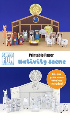 Create the Christmas nativity from paper with this printable nativity scene. This is a simple paper craft version of the traditional Christmas story. The Nativity Story, Christmas Nativity Scene, Nativity Crafts, A Christmas Story, Kids Christmas, Nativity Scenes, Christmas Bells, Nativity Characters, Story Characters