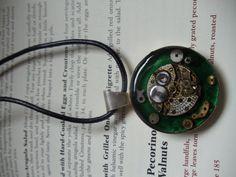 Emerald Green Stumpunk Pendant by Free Reign Adornments on Etsy, $62.00