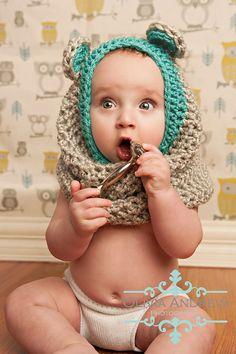 Bufanda de osito para bebés . Muy molona