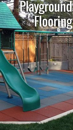 flooring outdoor Nothing is more important than a childs safety when at play. Each of RubberFlooringIncs playground surfaces (tiles, mats or mulch) has been tested and certified to provide protection from varying fall heights when installed properly. Playground Mats, Playground Safety, Backyard Playground, Backyard For Kids, Playground Ideas, Toddler Playground, Backyard Ideas, Rubber Tiles, Backyard Trampoline