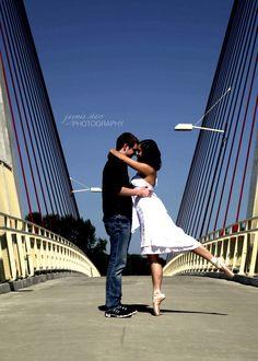 ballerina engagement pictures on the bridge in Eugene www.starrylightsphotography.com