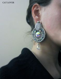"Earrings ""Silver"" - UAH 200, 800 rubles.    MATERIALS:  Crystals, beads, crystal, imitation leather, accessories"
