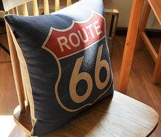 Linen Cotton Pillow Cover ROUTE 66 Home Decor by homeandlifestyle Linen Pillows, Cotton Pillow, Cotton Linen, Decorative Pillows, Route 66 Decor, Baby Lane, Trailer Decor, Guest Room Decor, Grey Room