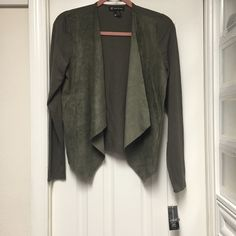 New  INC army green sweater w/ faux suede front Brand new never worn army green sweater with faux suede flap front. Smoke free home. INC International Concepts Sweaters