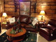 cozy rustic home decorating   Distressed Leather Aged Wood Cozy Seating Novel Accessories Wool ...