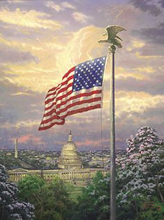 America's Pride by Thomas Kinkade - July - Patriotic America Pride, I Love America, God Bless America, Thomas Kinkade Art, Kinkade Paintings, Oil Paintings, Thomas Kincaid, Art Thomas, We Are The World