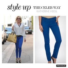 Recreate Katherine Heigl's dazzling look with these electric blue pants from Provogue.   Get them now at - www.provogue.com