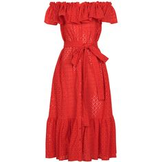 Lisa Marie Fernandez Tomato Red Mira Off The Shoulder Dress (1 310 AUD) ❤ liked on Polyvore featuring dresses, swim dress, peplum dress, off the shoulder ruffle dress, cap sleeve dress and red ruffle dress