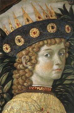 Benozzo Gozzoli - Procession of Magi (detail) the youngest king - Lorenzo il Magnifico, 1459-60 Fresco, Chapel of Palazzo Medici-Riccardi, Florence