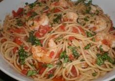 Spaghetti with Picchi-Pacchi and Shrimp