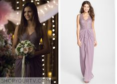 Elena Gilbert (Nina Dobrev) wears this mesh panel gathered lace gown in this upcoming episode of The Vampire Diaries. It is the BCBGMAXAZRIA Brandy Sleeveless Lace-Bodice Gown. Buy it HERE for $398.40, or HERE, or HERE, or HERE, or HERE, … Continue reading →