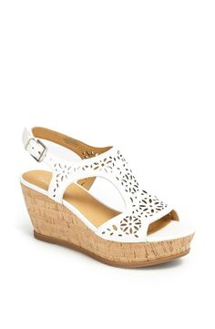 Oh so pretty! Adore these white leather and cork wedge sandals.