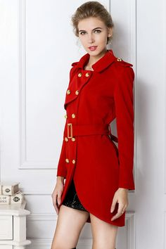 Turndown Collar Long Sleeve Double Breasted Trench Red Polyester Coat
