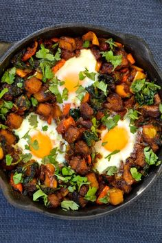 Mexican Breakfast Hash - butternut squash, oil, smoked paprika, ground cumin, salt, onion, jalapeno pepper, peppers, chorizo, spinach, lime juice, coriander/cilantro, avocado