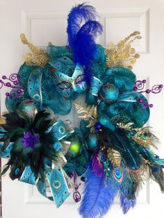 Peacock Wreath by ViennaSparkleWreaths on Etsy, $199.00