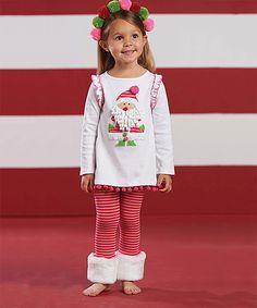 White & Pink Santa Tunic & Leggings - Infant & Toddler