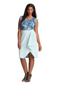 New-Mynt-1792-by-Lane-Bryant-Cascade-Ligth-Blue-Drape-Skirt-Womens-Size-26W