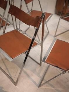 Folding chair leather 1970 Lübke