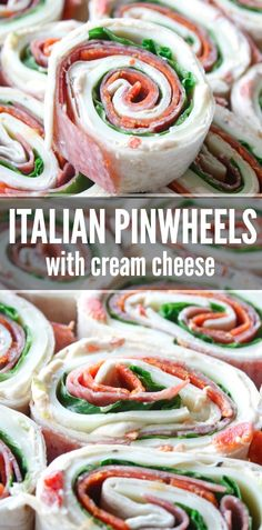 Recipes Snacks Finger Foods Italian Pinwheel Sandwiches with Cream Cheese Pinwheel Sandwiches, Pinwheel Appetizers, Pinwheel Recipes, Cheese Appetizers, Appetizer Recipes, Cheese Food, Vegetarian Appetizers, Wrap Sandwiches, Vegetarian