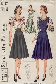 Simplicity 3457; Date: 1940 | VintageStitches.com women's dress pattern vintage style fashion 40s war era dress skirt shirt blouse puff sleeve pinafore long gown floral bows navy blue black white red green hair shoes color photo print ad