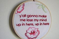 Embroidered DMX lyrics.  Why are these so funny to me?
