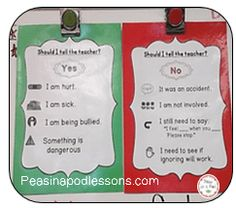 Tattling Posters! ~Should I tell the teacher? ~ Behavior management blog post ~ Perfect for Kindergarten and First grade http://peasinapodlessons.com/7-sanity-saving-behavior-management-strategies/