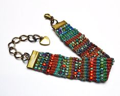 Tila SuperDuo Bands beaded pattern tutorial by Deb Roberti Beaded Cuff Bracelet, Bead Loom Bracelets, Woven Bracelets, Bead Loom Patterns, Bracelet Patterns, Beading Patterns, Beading Tutorials, Jewelry Patterns, Beaded Bracelets