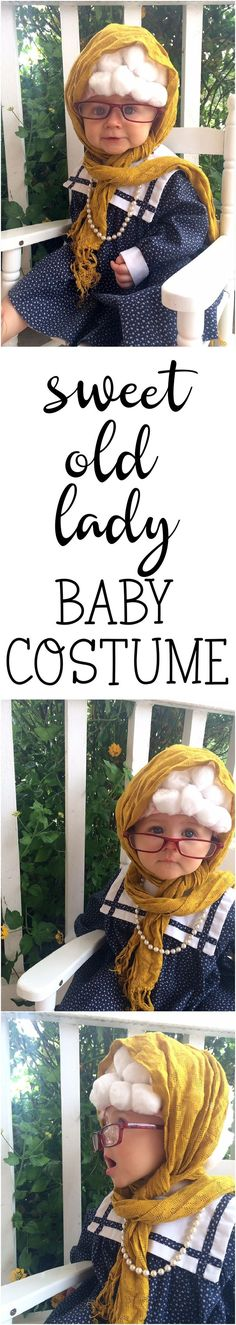 This sweet old lady baby costume is so quick, easy, and economical! If you want to make an easy diy costume that doesn't cost a lot and uses things around this house, this costume idea is for you! Turn your little one into a cute little old lady! Handmade Halloween Costumes, Easy Diy Costumes, Diy Halloween Decorations, Baby Costumes, Costumes For Women, Costume Ideas, Cosplay Costumes, Holidays Halloween, Halloween Kids