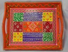 Antique-Look Hand-Painted Ethnic Wood Tray by KaayaArts on Etsy