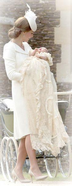 Princess Charlotte Elizabeth Diana's christening day. Kate is wearing Alexander McQueen.