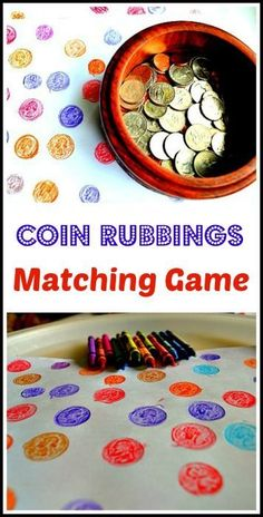 and art activity rolled into one for preschoolers: A fun matching game and other coin rubbings ideas.Math and art activity rolled into one for preschoolers: A fun matching game and other coin rubbings ideas. Pirate Preschool, Pirate Activities, Money Activities, Pirate Crafts, Kids Learning Activities, Fun Learning, Preschool Activities, Activities For Kids, Play Activity