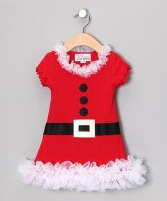 White Mrs. Claus Ruffle Dress - Infant, Toddler & Girls