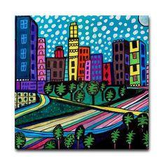 Los Angeles Art gift Tile Coaster LA by HeatherGallerArt on Etsy, $20.00