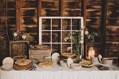 Fall wedding tip: Don't forget about the sweets station. It deserves some rustic love, too — pie and all.