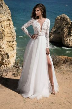 LORIE Long Sleeves Boho Wedding Dress 2019 Backless Side Split Appliques Lace A Line Tulle Vintage Bride Dresses Wedding Gown – fashion Long Sleeve Wedding Dress Boho, Wedding Dress Trends, Dream Wedding Dresses, Wedding Attire, Bridal Dresses, Wedding Gowns, Wedding Bride, Wedding Venues, Wedding Ideas