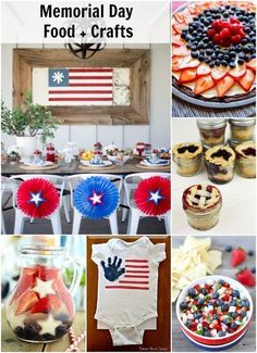 4th of July food and crafts. An awesome roundup of red,white, and blue food and crafts perfect for a Memorial Day party or 4th of July on dreambookdesign.com