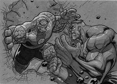 #Hulk #Fan #Art. (Thing Vs Hulk) By: MiaCabrera. (THE * 5 * STÅR * ÅWARD * OF: * AW YEAH, IT'S MAJOR ÅWESOMENESS!!!™)