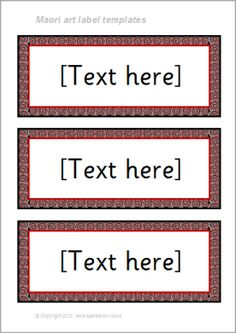 Maori art-themed classroom label templates (SB8584) - SparkleBox Classroom Name Tags, Classroom Labels, Art Classroom, Interactive Bulletin Boards, Subject Labels, Preschool Rooms, Science Education, Physical Education, Human Body Unit