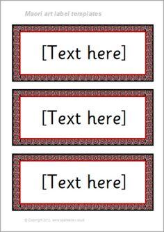 Maori art-themed classroom label templates (SB8584) - SparkleBox