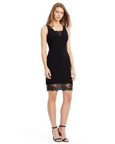 Lace-Trim Crepe Dress - Lauren Short - RalphLauren.com