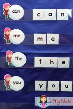 FREE Winter Preschool Center Activities: Pre-Primer Snowball Sight Words pocket chart activity