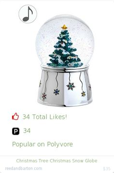 Top christmas gift on Polyvore.  34 people likes on Internet. 34 ployvore saves. christmas tree christmas snow globe from reedandbarton christmas gifts. http://www.MostLikedGifts.com/top-popular-christmas-gifts/reedandbarton-christmas-gift-5489bb1ae294f20980678e4c-christmas-tree-christmas-snow-globe