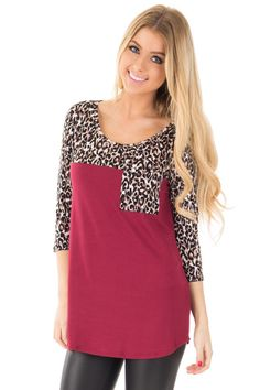 Lime Lush Boutique - Burgundy and Leopard Print Contrast Top with 3/4 Sleeves, $32.99 (http://www.limelush.com/burgundy-and-leopard-print-contrast-top-with-3-4-sleeves/)